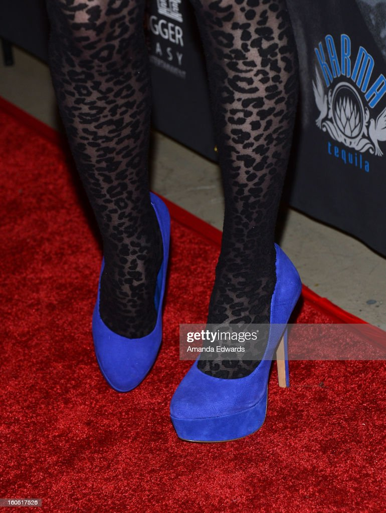 Actress Phoebe Price (shoe detail) arrives at the Los Angeles Premiere of 'The Devil's Dozen' at Mann's Chinese 6 Theatres on February 1, 2013 in Hollywood, California.