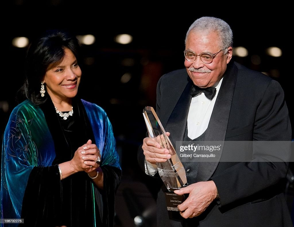 Actress <a gi-track='captionPersonalityLinkClicked' href=/galleries/search?phrase=Phylicia+Rashad&family=editorial&specificpeople=206924 ng-click='$event.stopPropagation()'>Phylicia Rashad</a> and Honoree Actor <a gi-track='captionPersonalityLinkClicked' href=/galleries/search?phrase=James+Earl+Jones&family=editorial&specificpeople=206328 ng-click='$event.stopPropagation()'>James Earl Jones</a> attend the 2012 Marian Anderson awards gala at Kimmel Center for the Performing Arts on November 19, 2012 in Philadelphia, Pennsylvania.