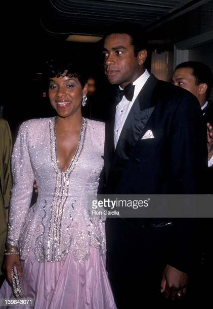 Actress Phylicia Rashad and sportscaster Ahmad Rashad attending 'Jackie Robinson Awards Dinner' on April 17 1989 at the Waldorf Hotel in New York...