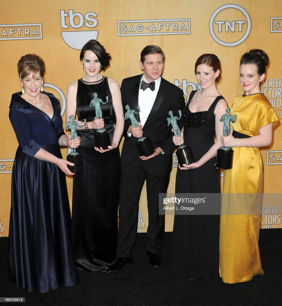 Actress Phyllis Logan, actress Michelle Dockery, actor Allen Leech, actress Amy Nutall and actress Sophie McSheara pose in the press room at the 19th Annual Screen Actors Guild Awards held at The Shrine Auditorium on January 27, 2013 in Los Angeles, California.