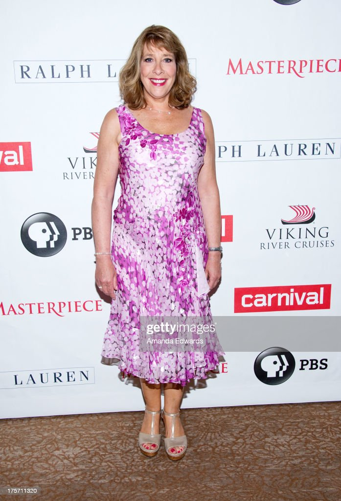 Actress Phyllis Logan arrives at the 'Downton Abbey' photo call at The Beverly Hilton Hotel on August 6, 2013 in Beverly Hills, California.