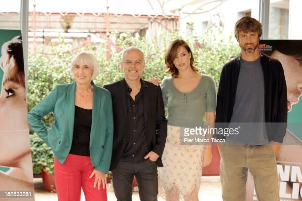 Actress Pia Engleberth Director Daniele Luchetti Actress Micaela Ramazzotti and Actor Kim Rossi Stuart attend an 'Anni Felici' photocall at hotel...