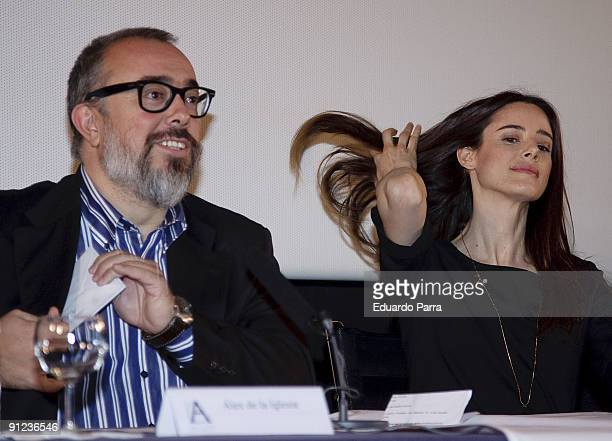 Actress Pilar Lopez de Ayala and the President of the Spanish Cinema Academy Alex de la Iglesia attend the unveiling of the movie selected to...