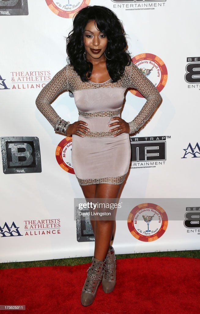 Actress Porscha Coleman attends the 8th Annual BTE All-Star Celebrity Kickoff Party at the Playboy Mansion on July 15, 2013 in Beverly Hills, California.