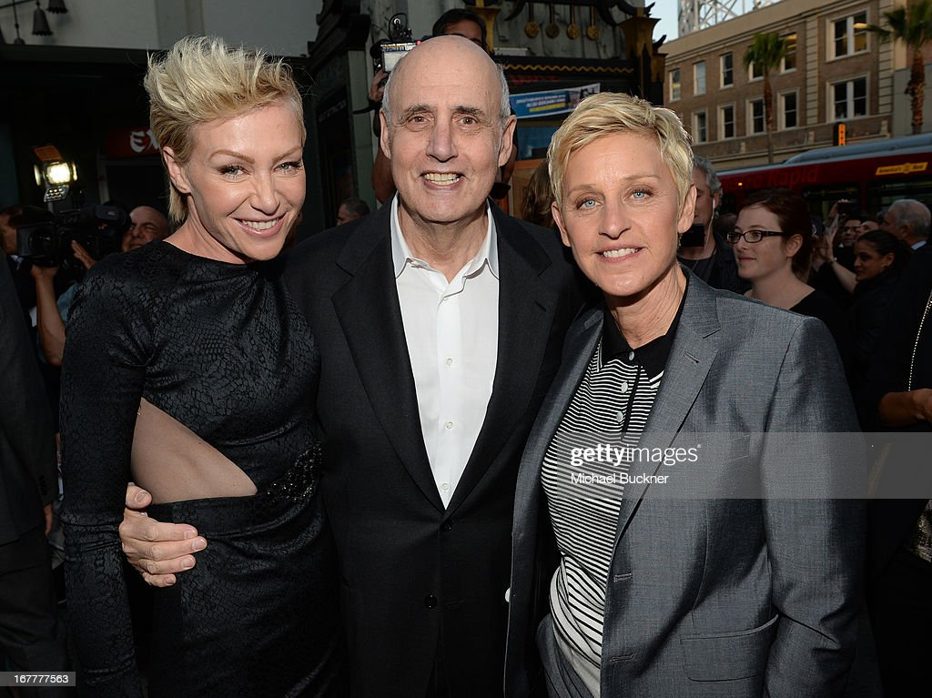 Actress Portia de Rossi, actor Jeffrey Tambor and comedian Ellen Degeneres arrive at the Los Angeles Premiere of Season 4 of Netflix's 'Arrested Development' at the TCL Chinese Theatre on April 29, 2013 in Hollywood, California.