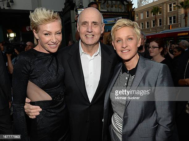 Actress Portia de Rossi actor Jeffrey Tambor and comedian Ellen Degeneres arrive at the Los Angeles Premiere of Season 4 of Netflix's 'Arrested...