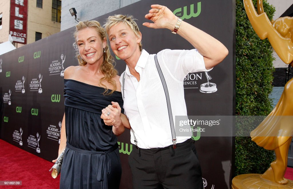 Actress Portia de Rossi and comedian Ellen DeGeneres arrive at the 36th Annual Daytime Emmy Awards at The Orpheum Theatre on August 30, 2009 in Los Angeles, California.