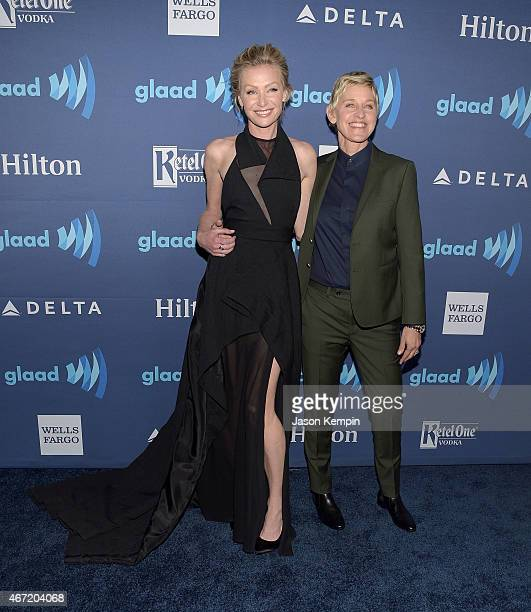 Actress Portia de Rossi and comedian Ellen DeGeneres attend the 26th Annual GLAAD Media Awards at The Beverly Hilton Hotel on March 21 2015 in...