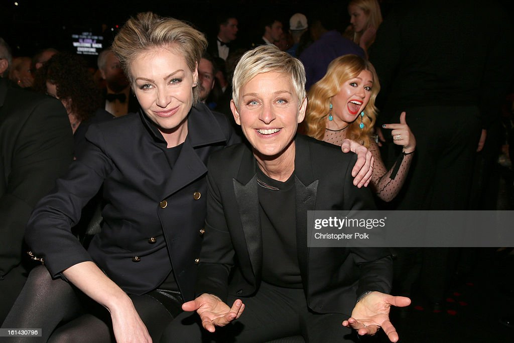 Actress Portia de Rossi (L) and comedienne Ellen DeGeneres attend the 55th Annual GRAMMY Awards at STAPLES Center on February 10, 2013 in Los Angeles, California.