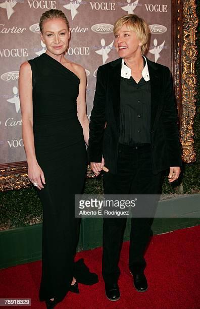 Actress Portia De Rossi and TV Host Ellen DeGeneres arrive at 'Heaven Celebrating 10 Years' event benefiting the Art Elysium held at The Vibiana on...