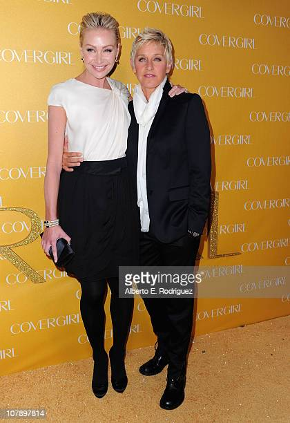 Actress Portia de Rossi and TV host Ellen Degeneres arrive to Covergirl Cosmetic's 50th Anniversary Party on January 5 2011 in West Hollywood...