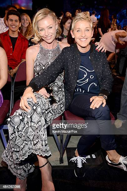 Actress Portia de Rossi and TV persoanlity Ellen DeGeneres attend the Teen Choice Awards 2015 at the USC Galen Center on August 16 2015 in Los...