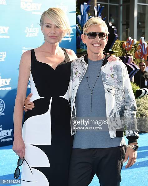 Actress Portia de Rossi and TV personality Ellen DeGeneres arrive at the World Premiere of DisneyPixar's 'Finding Dory' at the El Capitan Theatre on...