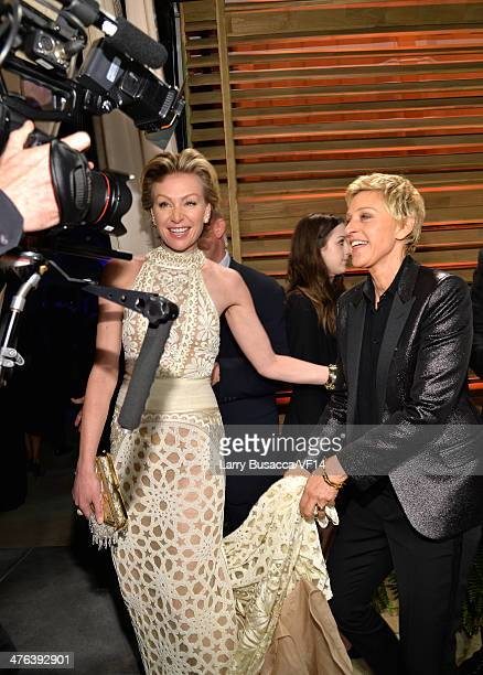 Actress Portia de Rossi and TV personality Ellen DeGeneres attend the 2014 Vanity Fair Oscar Party Hosted By Graydon Carter on March 2 2014 in West...