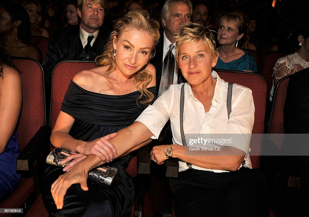 Actress Portia de Rossi (L) and TV personality <a gi-track='captionPersonalityLinkClicked' href=/galleries/search?phrase=Ellen+DeGeneres&family=editorial&specificpeople=171367 ng-click='$event.stopPropagation()'>Ellen DeGeneres</a> attend the 36th Annual Daytime Emmy Awards at The Orpheum Theatre on August 30, 2009 in Los Angeles, California.