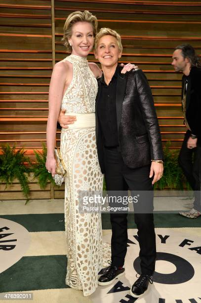 Actress Portia de Rossi and TV personality Ellen DeGeneres attends the 2014 Vanity Fair Oscar Party hosted by Graydon Carter on March 2 2014 in West...