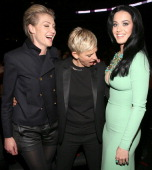 Actress Portia de Rossi comedienne Ellen DeGeneres and singer Katy Perry attend the 55th Annual GRAMMY Awards at STAPLES Center on February 10 2013...