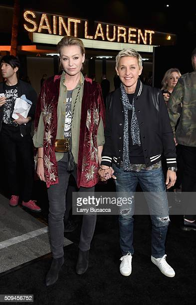 Actress Portia de Rossi in Saint Laurent by Hedi Slimane and tv personality Ellen DeGeneres attend Saint Laurent at the Palladium on February 10 2016...