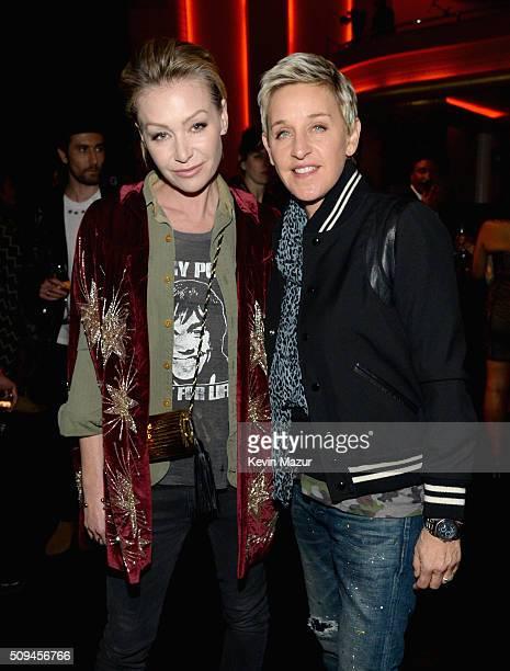 Actress Portia de Rossi in Saint Laurent by Hedi Slimane and tv personality Ellen DeGeneres attend Saint Laurent at the Palladium on February 10 2016...
