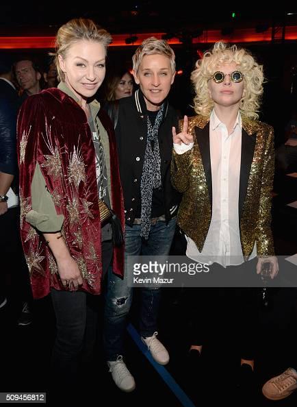 Actress Portia de Rossi in Saint Laurent by Hedi Slimane tv personality Ellen DeGeneres and recording artist Lady Gaga in Saint Laurent by Hedi...
