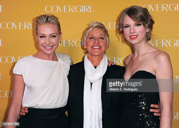 Actress Portia de Rossi TV host Ellen Degeneres and singer Taylor Swift arrive to Covergirl Cosmetic's 50th Anniversary Party on January 5 2011 in...