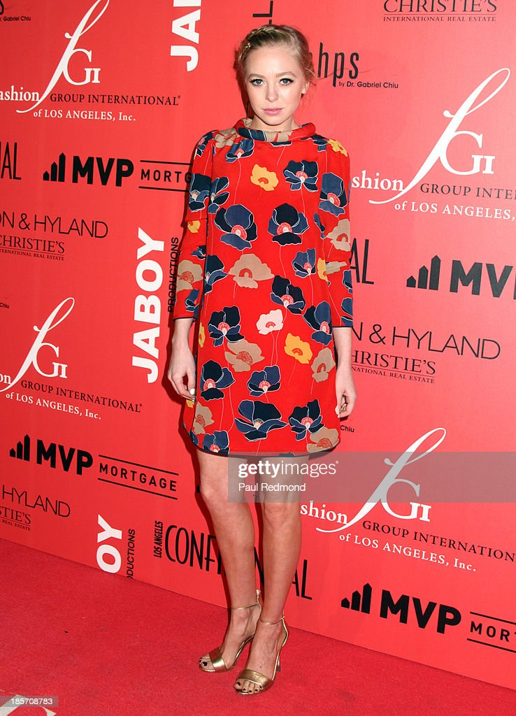 Actress <a gi-track='captionPersonalityLinkClicked' href=/galleries/search?phrase=Portia+Doubleday&family=editorial&specificpeople=5850991 ng-click='$event.stopPropagation()'>Portia Doubleday</a> arrives at FGILA's 5th Annual Designer & The Muse hosted by Kathy Hilton at Mr. C Beverly Hills on October 23, 2013 in Beverly Hills, California.