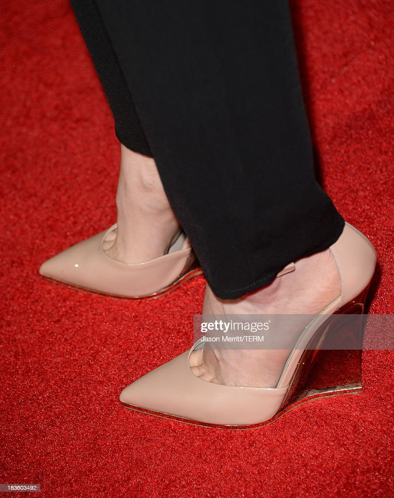 Actress Portia Doubleday (shoe detail) arrives at the premiere of Metro-Goldwyn-Mayer Pictures & Screen Gems' 'Carrie' at ArcLight Cinemas on October 7, 2013 in Hollywood, California.