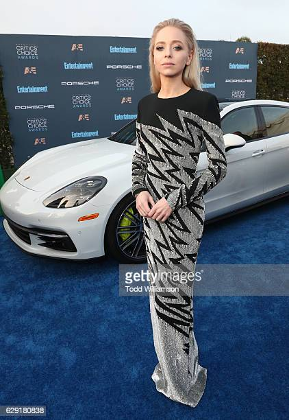 Actress Portia Doubleday attends the 22nd annual Critics' Choice Awards with Porsche and the 2017 Panamera 4 EHybrid Executive at Barker Hangar on...