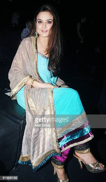Actress Preity Zinta poses during designer Manish Malhotra's fashion show at the third day of the HDIL India Couture Week in Mumbai on Wednesday...
