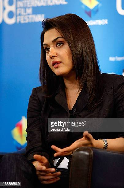 Actress Preity Zinta speaks at the 'Heaven On Earth' press conference during the 2008 Toronto International Film Festival held at the Sutton Place...