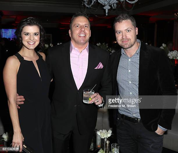 Actress Priscilla Faia Chris Long SVP of Entertainment and Production at Audience Network DirecTV and actor Greg Poehler attend the DirecTV Cocktail...