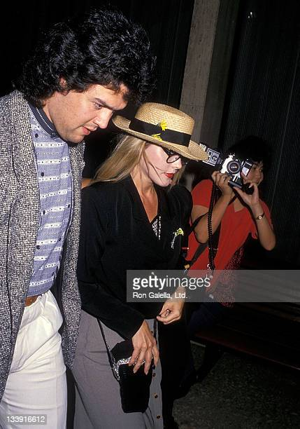 Actress Priscilla Presley and boyfriend Marco Garibaldi attend the 'Les Miserables' performance on August 22 1988 at the Shubert Theatre in Century...