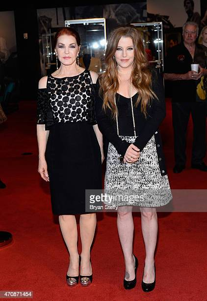 Actress Priscilla Presley and Singer Lisa Marie Presley attend the ribboncutting ceremony during the grand opening of 'Graceland Presents ELVIS The...