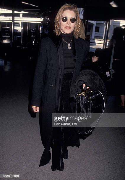 Actress Priscilla Presley departs for New York City on December 17 1993 from the Los Angeles International Airport in Los Angeles California