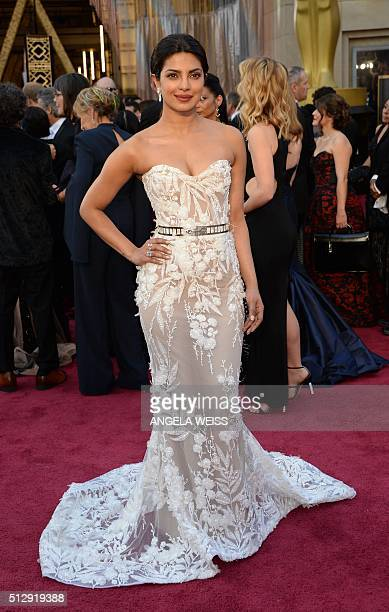 Actress Priyanka Chopra arrives on the red carpet for the 88th Oscars on February 28 2016 in Hollywood California AFP PHOTO / ANGELA WEISS / AFP /...