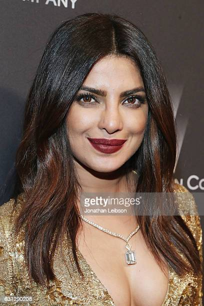 Actress Priyanka Chopra at The Weinstein Company and Netflix Golden Globes Party presented with FIJI Water at The Beverly Hilton Hotel on January 8...