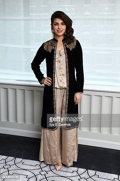 Actress Priyanka Chopra attends 'Bajirao Mastani' New York Press Junket at Regency Hotel on December 10 2015 in New York City