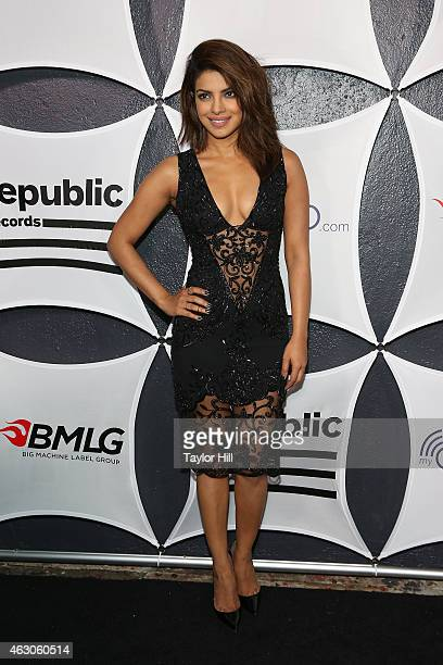 Actress Priyanka Chopra attends the 2015 Republic Records And Big Machine Label Group Post GRAMMY Celebration at Warwick on February 8 2015 in Los...
