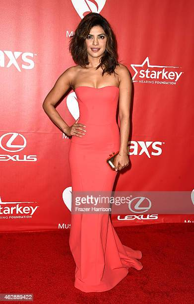 Actress Priyanka Chopra attends the 25th anniversary MusiCares 2015 Person Of The Year Gala honoring Bob Dylan at the Los Angeles Convention Center...