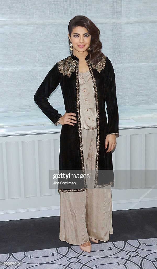 Actress <a gi-track='captionPersonalityLinkClicked' href=/galleries/search?phrase=Priyanka+Chopra&family=editorial&specificpeople=228954 ng-click='$event.stopPropagation()'>Priyanka Chopra</a> attends the 'Bajirao Mastani' New York press junket at Regency Hotel on December 10, 2015 in New York City.