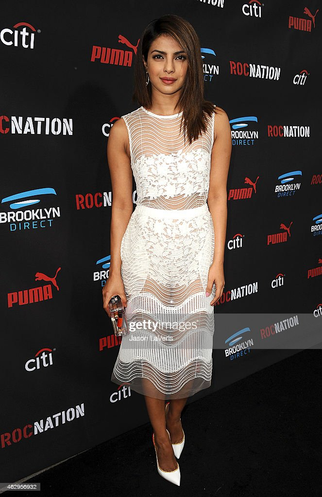 Actress <a gi-track='captionPersonalityLinkClicked' href=/galleries/search?phrase=Priyanka+Chopra&family=editorial&specificpeople=228954 ng-click='$event.stopPropagation()'>Priyanka Chopra</a> attends the Roc Nation Grammy brunch on February 7, 2015 in Beverly Hills, California.