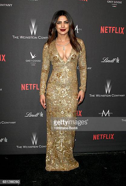 Actress Priyanka Chopra attends The Weinstein Company and Netflix Golden Globe Party presented with FIJI Water Grey Goose Vodka Lindt Chocolate and...