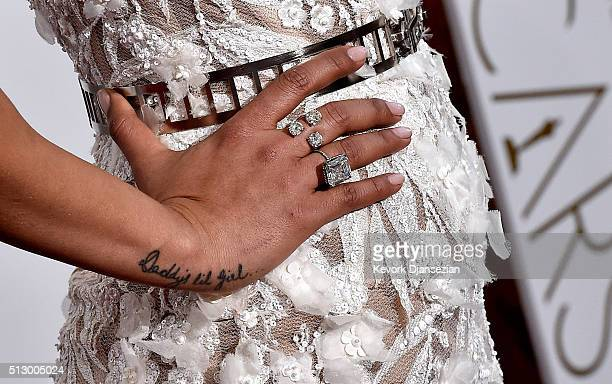 Actress Priyanka Chopra fashion detail attends the 88th Annual Academy Awards at Hollywood Highland Center on February 28 2016 in Hollywood California