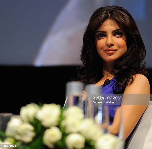 Actress Priyanka Chopra onstage during an QA session on day two of the 8th Annual Dubai International Film Festival held at the Madinat Jumeriah...