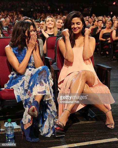 Actress Priyanka Chopra reacts during the People's Choice Awards 2017 at Microsoft Theater on January 18 2017 in Los Angeles California