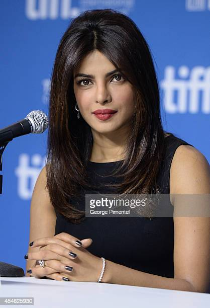 Actress Priyanka Chopra speaks onstage at the'Mary Kom' Press Conference during the 2014 Toronto International Film Festival at TIFF Bell Lightbox on...