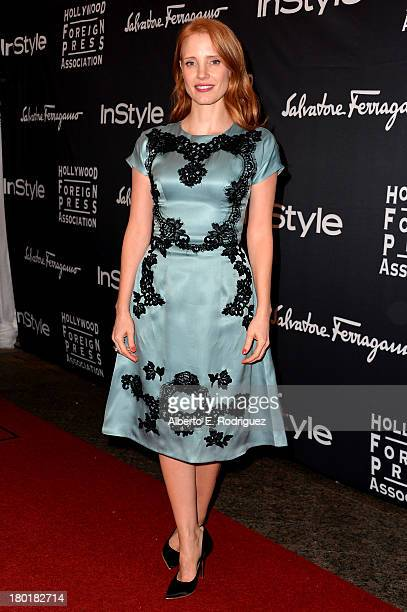 Actress/ producer Jessica Chastain arrives at the TIFF HFPA / InStyle Party during the 2013 Toronto International Film Festival at Windsor Arms Hotel...