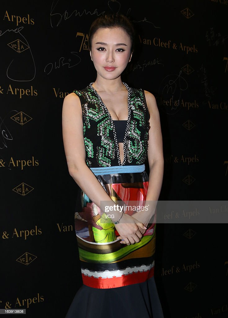 Actress Qin Lan attends the 7th Asian Film Awards cocktail party at Grand Hyatt Hotel on March 17, 2013 in Hong Kong, Hong Kong.