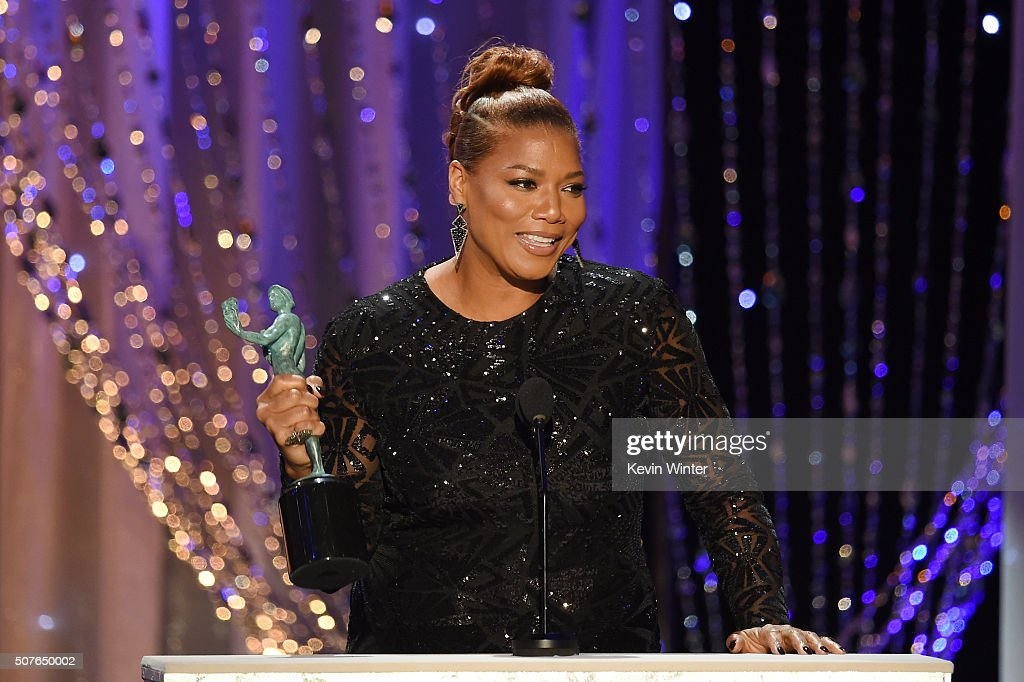 Actress Queen Latifah accepts the Female Actor in a Television Movie or Miniseries for 'Bessie' onstage during The 22nd Annual Screen Actors Guild...
