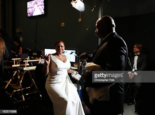 Actress Queen Latifah backstage during the Oscars held at the Dolby Theatre on February 24 2013 in Hollywood California